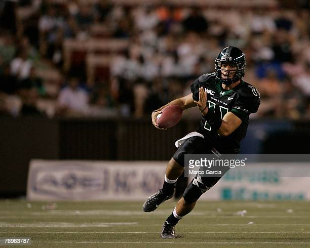 University of Hawaii Warriors QB Inoke Funaki runs towards the goal during their game against the Charleston Southern Buccaneers at Aloha Stadium...