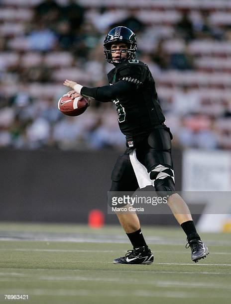 University of Hawaii Warriors QB Tyler Graunke makes a pass during the first quarter against the Charleston Southern Buccaneers at Aloha Stadium...