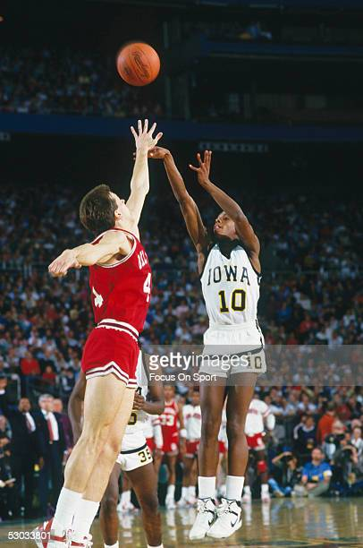 University of Iowa's BJ Armstrong makes a jumpshot during a game