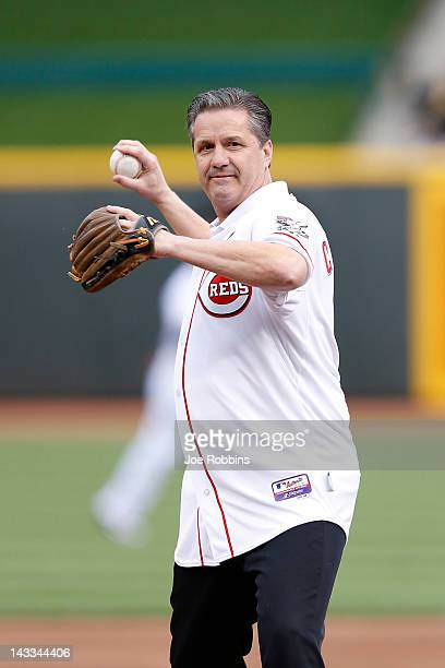 University of Kentucky basketball coach John Calipari throws out the first pitch before the game between the Cincinnati Reds and San Francisco Giants...