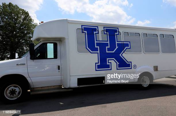 University Of Kentucky bus sits outside Kroger Field, home of the University of Kentucky Wildcats football team in Lexington, Kentucky on July 29,...