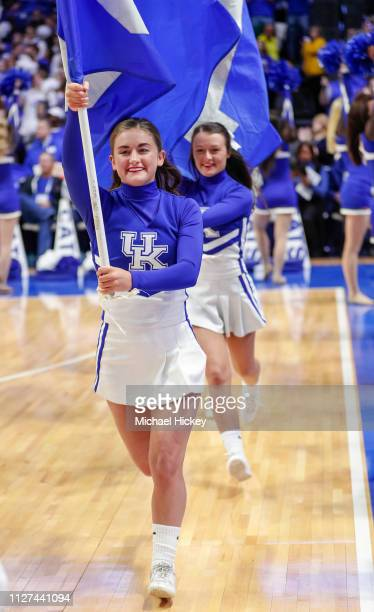 University of Kentucky cheerleader is seen before the game against the Auburn Tigers at Rupp Arena on February 23 2019 in Lexington Kentucky