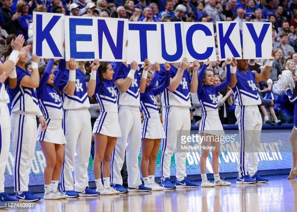 University of Kentucky cheerleaders are seen during the game against the Auburn Tigers at Rupp Arena on February 23 2019 in Lexington Kentucky