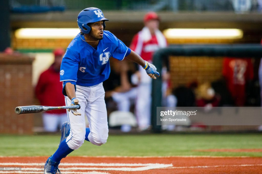 University of Kentucky outfielder Tristan Pompey (#6) takes off for first after hitting a ground ball during a regular season college baseball game between the Louisville Cardinals and the Kentucky Wildcats on April 18, 2017, at Cliff Hagan Stadium in Lexington, KY. Kentucky wins the game 11-7.