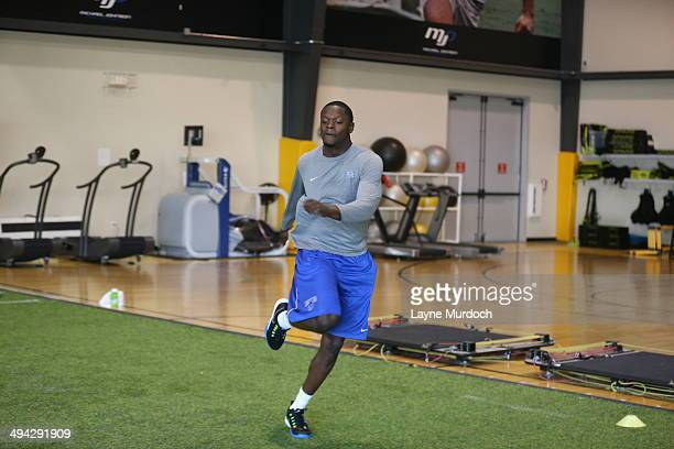 University of Kentucky power forward and projected lottery draft pick Julius Randle time at home with his mother Caroline works out at the Michael...
