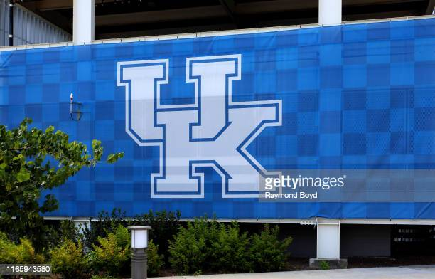 University Of Kentucky signage outside Kroger Field, home of the University of Kentucky Wildcats football team in Lexington, Kentucky on July 29,...