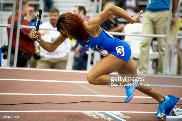 University of Kentucky's Faith Ross in the Womens 4x400 Meter Relay during the Division I Men's and Women's Indoor Track Field Championship held at...