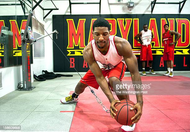 University of Maryland basketball player Pe'Shon Howard works on specific drills set up by Kyle Tarp in the Basketball Performance Center Monday,...
