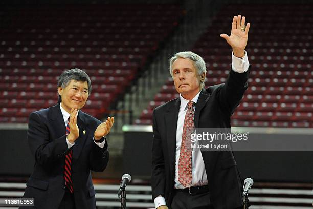University of Maryland coach Gary WIlliams announces his retirement as President of the University of Maryland Wallace D Loh looks on May 6 2011 at...