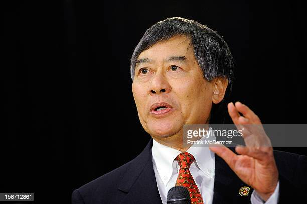 University of Maryland President Wallace D Loh announces Maryland's decision to join the Big Ten Conference during a press conference on November 19...
