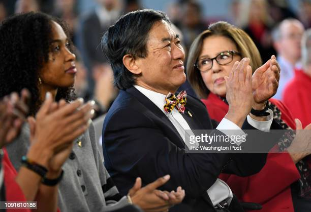 University of Maryland President Wallace Loh claps as Michael Locksley is introduced as the new Maryland Football Head Coach during a press...