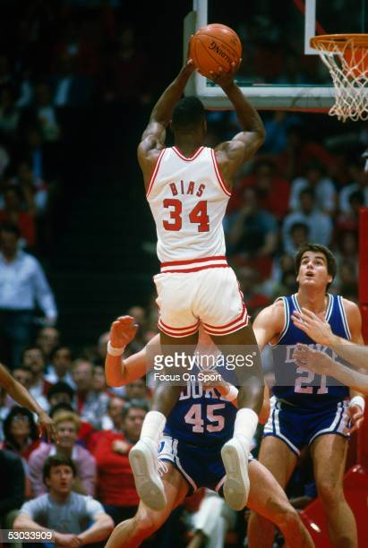 University of Maryland's Len Bias makes a jumpshot against Duke during his college days with Maryland