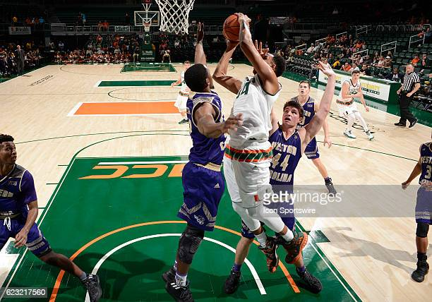 University of Miami center Rodney Miller shoots during an NCAA basketball game between the Western Carolina University Catamounts and the University...