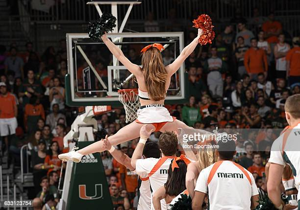 University of Miami cheerleaders perform during a basketball game between the University of North Carolina Tar Heels and the University of Miami...