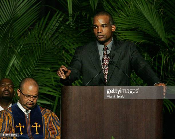 University of Miami head coach Randy Shannon speaks to guests during funeral services for Sean Taylor at the Pharmed Arena in the campus of Florida...