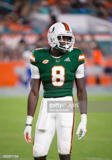 University of Miami Hurricanes Defensive Back DJ Ivey on the field before the start of the college football game between the Savannah State Tigers...