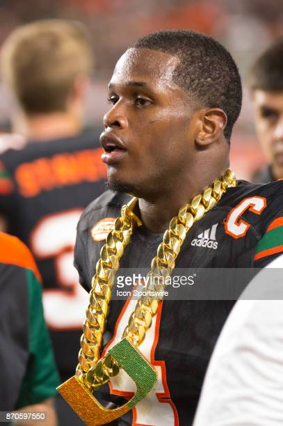 University of Miami Hurricanes Defensive Back Jaquan Johnson wears the UM Turnover Chain after intercepting a pass from Virginia Tech Hokies...