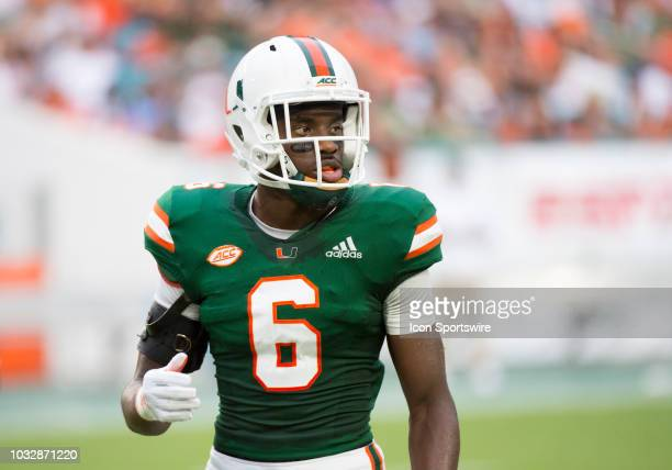 University of Miami Hurricanes Defensive Back Jhavonte Dean during the college football game between the Savannah State Tigers and the University of...