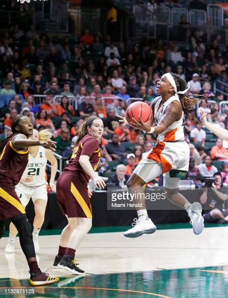 University of Miami Hurricanes' Mykea Gray goes for a shot against the Arizona State Sun Devils during the second round of NCAA women's basketball...