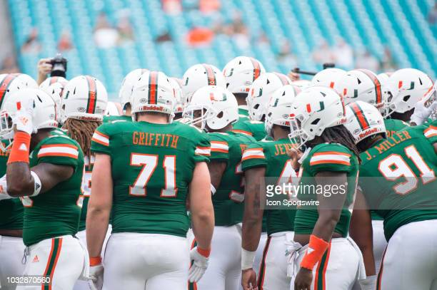 University of Miami Hurricanes Offensive Lineman Jared Griffith , University of Miami Hurricanes Defensive Lineman Jordan Miller and the players...