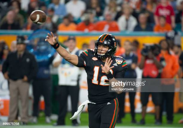 University of Miami Hurricanes Quarterback Malik Rosier throws the ball during the Capital One Orange Bowl college football game between the...