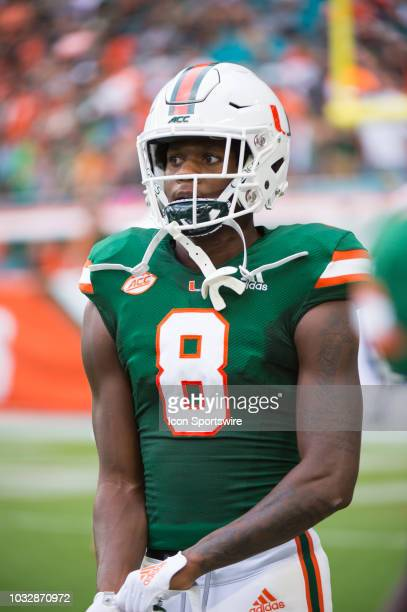 University of Miami Hurricanes Wide Receiver Dee Wiggins on the field before the start of the college football game between the Savannah State Tigers...