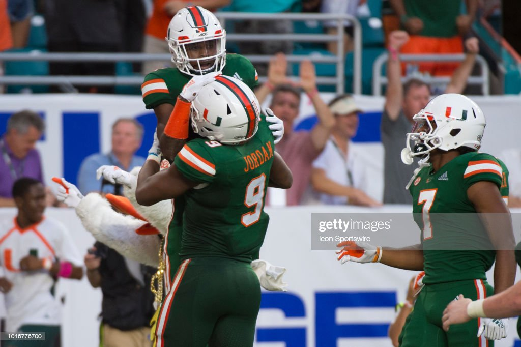 University Of Miami Hurricanes Wide Receiver Jeff Thomas Scores A