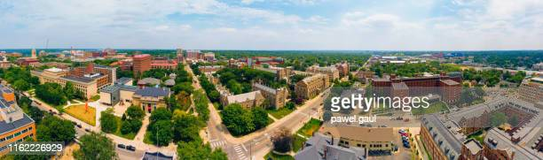 university of michigan ann arbor aerial view - michigan stock pictures, royalty-free photos & images