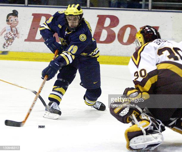 University of Michigan center Andrew Ebbett tries to get a backhand shot past Ferris State goaltender Mike Brown during first period action at Yost...