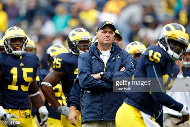University of Michigan Head Coach Rich Rodriguez during the game against Bowling Green on September 25, 2010 at Michigan Stadium in Ann Arbor,...