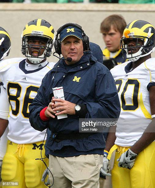 University of Michigan head coach Rich Rodriguez prior to the start of the game against the Michigan State Spartans at Spartan Stadium on October 3,...