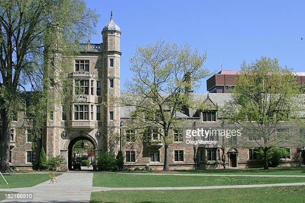 university of michigan law school, ann arbor. clear blue sky. - ann arbor stock pictures, royalty-free photos & images