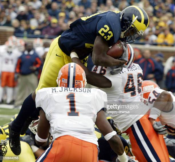 University of Michigan RB Chris Perry dives for a TD over Illinois defenders Marc Jackson and Antonio Mason during first quarter action at Michigan...