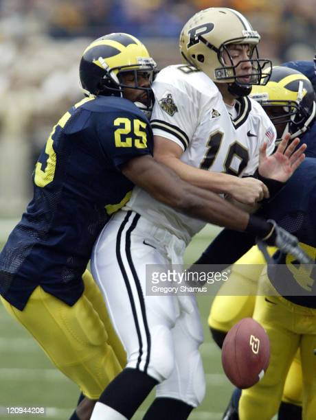 University of Michigan safety Ernest Shazor hits Purdue QB Kyle Orton causing a fumble during the second quarter at Michigan Stadium on October 25...