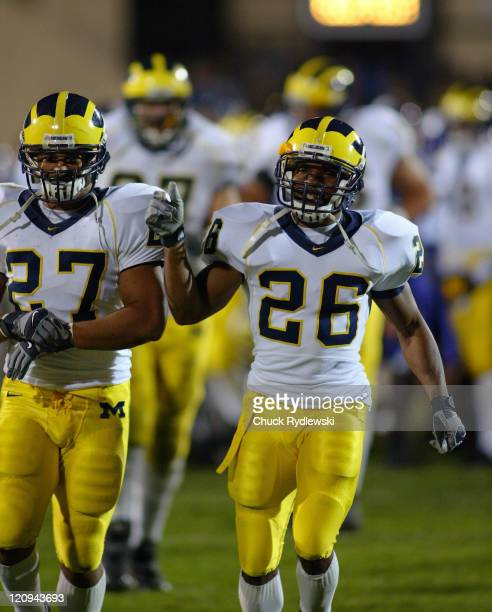 University of Michigan Wolverines' Alijah Bradley and Brandon Harrison celebrate their teams victory over the Northwestern University Wildcats at...