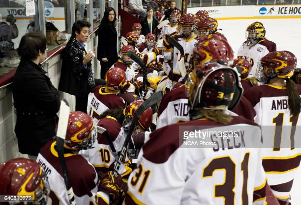 University of Minnesota Duluth Women's Hockey head coach Shannon Miller speaks to her team in the first period of the Division I Women's Ice Hockey...