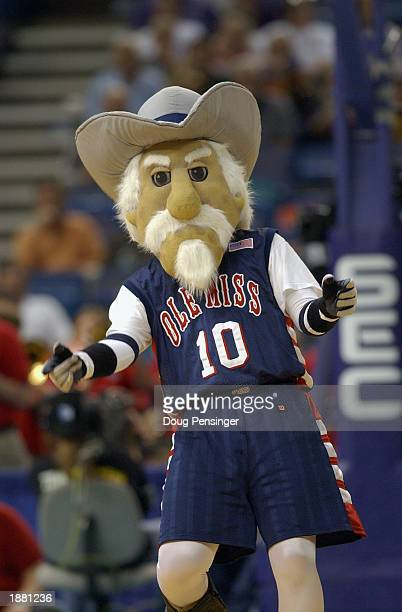 University of Mississippi Rebels mascot Col Reb runs during an intermission in the SEC Men's Basketball Tournament against the University of South...