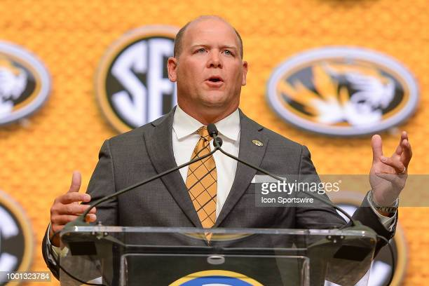 University of Missouri head football coach Barry Odom answers questions during the 2018 SEC Football Media Days on July 18th 2018 at the College...