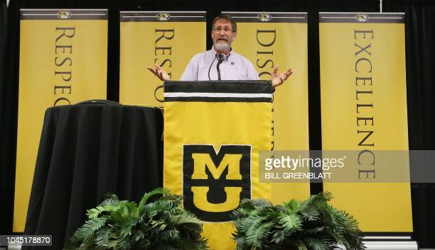 University of Missouri professor George P. Smith speaks during a press conference announcing he has won the 2018 Nobel Prize in Chemistry, in...