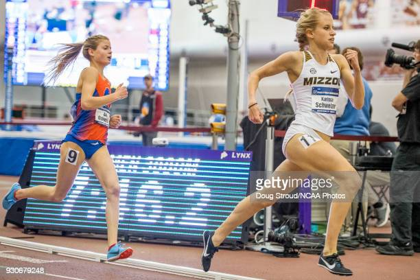 University of Missouri's Karissa Schweizer begins to make a move with Allie Ostrander of Boise State in chase in the Womens 3000 Meter Run during the...