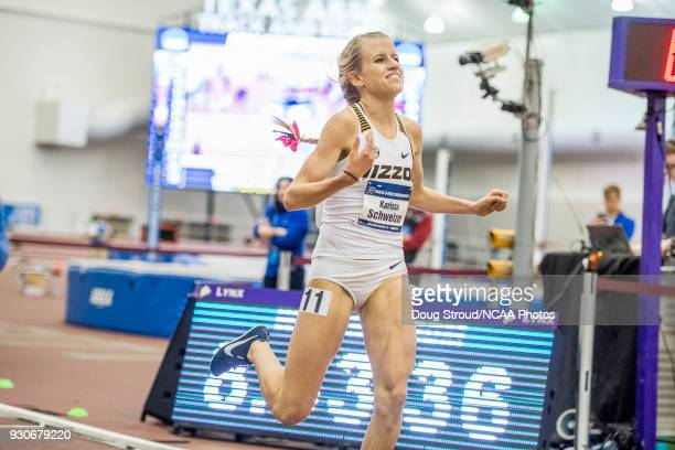 University of Missouri's Karissa Schweizer wins the Womens 3000 Meter Run during the Division I Men's and Women's Indoor Track Field Championship...