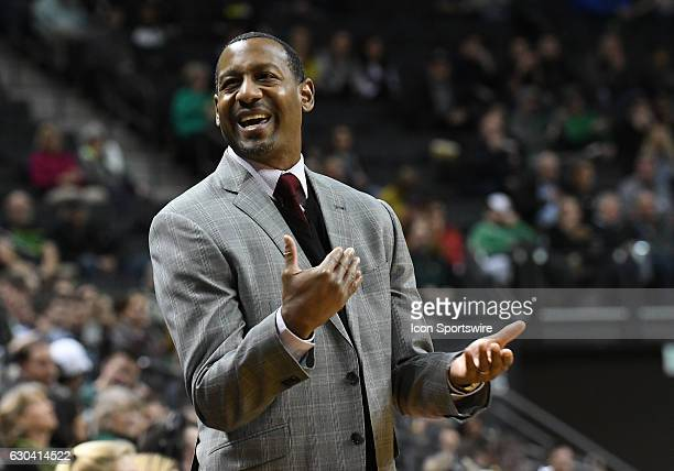 University of Montana Head Coach Travis DeCuire reacts to a foul call during a nonconference NCAA basketball game between the University of Montana...