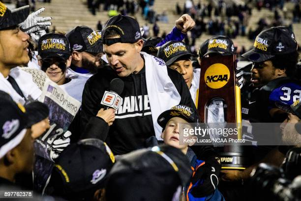 University of Mount Union head coach Vince Kehres is interviewed by an ESPN reporter following the Division III Men's Football Championship held at...