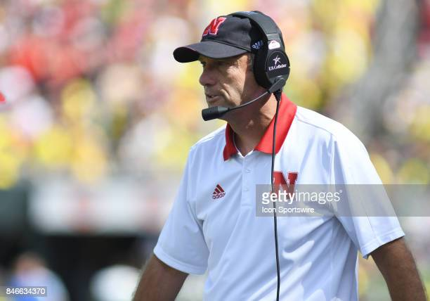 University of Nebraska head coach Mike Riley walks the sideline during a college football game between the Nebraska Cornhuskers and Oregon Ducks on...