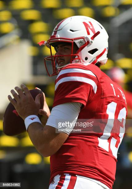 University of Nebraska QB Tanner Lee warms up prior to kickoff during a college football game between the Nebraska Cornhuskers and Oregon Ducks on...