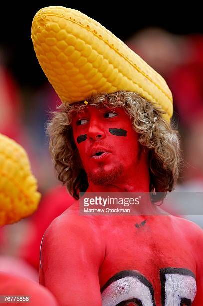 University of Nebraska student Patrick Welsh of Sioux Falls South Dakota waits for the Nebraska Cornhuskers to play the USC Trojans on September 15...