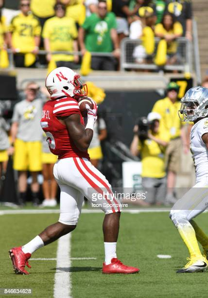 University of Nebraska WR De'Mornay PiersonEl makes a fair catch during a college football game between the Nebraska Cornhuskers and Oregon Ducks on...