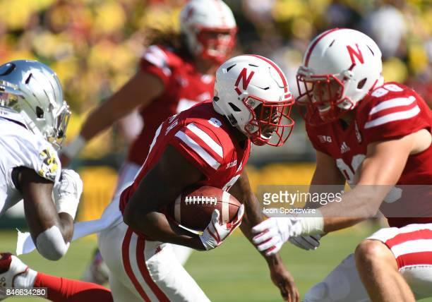 University of Nebraska WR Stanley Morgan Jr runs the ball during a college football game between the Nebraska Cornhuskers and Oregon Ducks on...