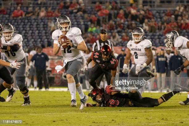 University of Nevada Wolf Pack quarterback Carson Strong in action during a college football game between the University of Nevada Wolf Pack and the...