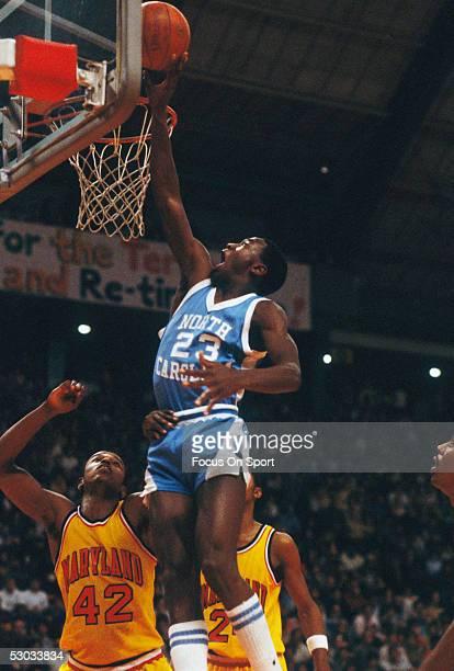 University of North Carolina's Michael Jordan jumps for a layup during a game